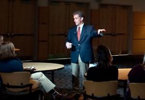 President Lane Glenn conducts a presentation inside the Hartleb Technology Center.