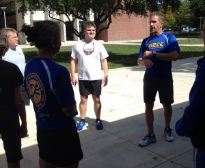 Lane Glenn and Jeff Bickford speaking at the first meeting of the President's Running Club.