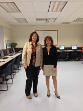 Michaud (left) and Bertolino (right) stand in the new Lawrence testing center.