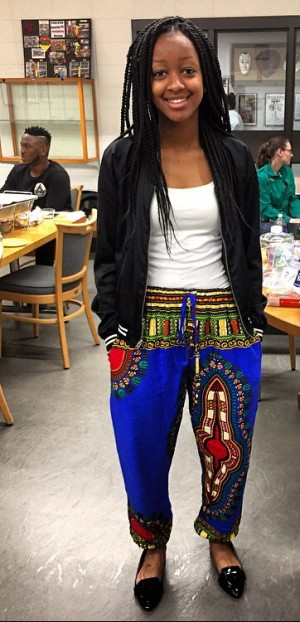 NECC student Tracy Mukami wore her traditional garb for the fashion show