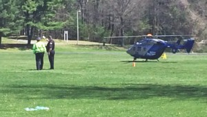 A MedFlight landed on the Haverhill campus to carry an injured motorist to the hospital after a car accident on nearby I495