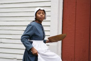 student dressed up in a colonial costume