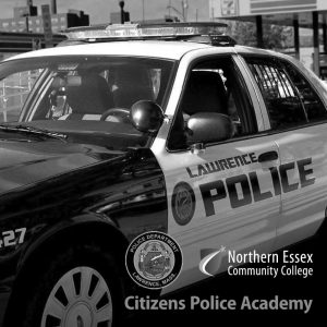 close up picture of a Lawrence police car