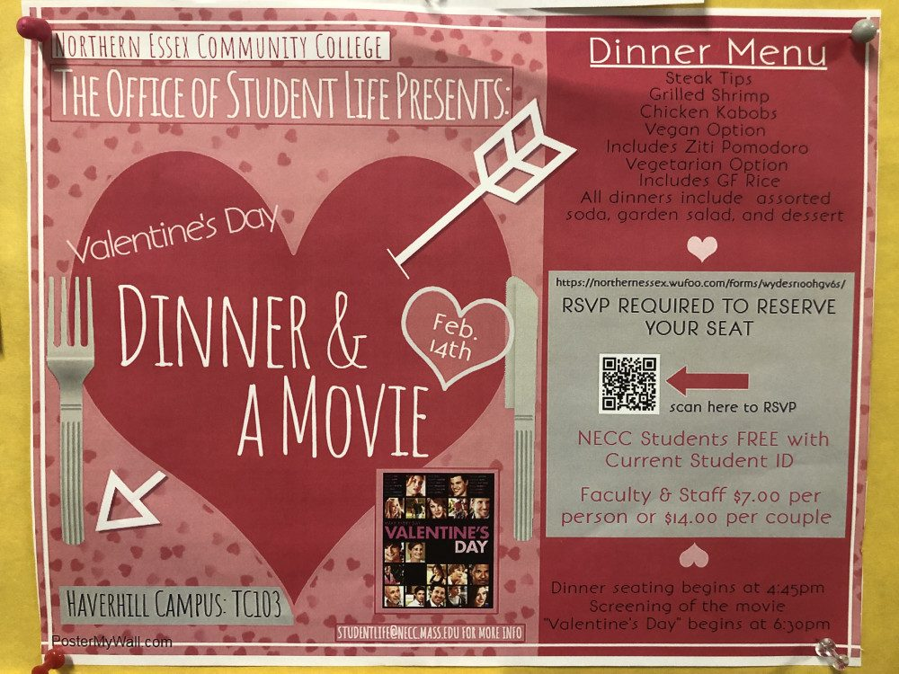 Valentines Day poster advertising a free dinner and a movie to NECC students. Poster has a heart with an arrow on it