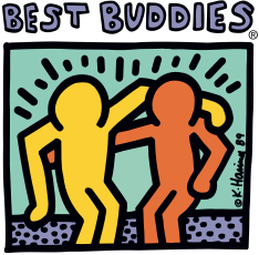 "Image says ""Best Buddies"" at the top. Has two solid colored people with their arms around each other"