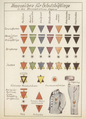 chart showing different german prisoner markings, the pink one was for homosexual prisoners