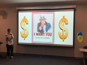 "Slide showing uncle sam saying ""I want you"""