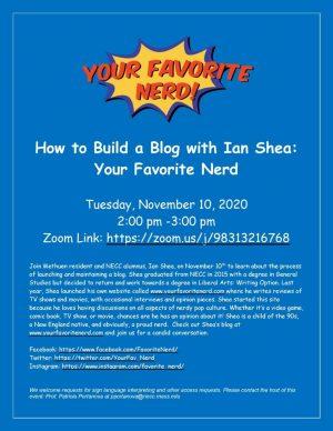 Flier for blog event talk
