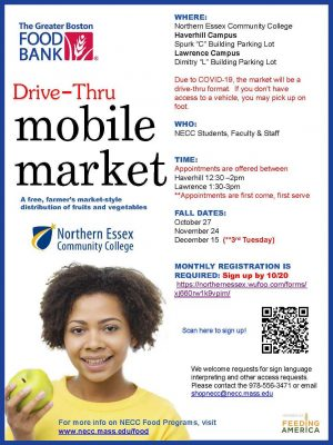 Poster with details about the mobile food market