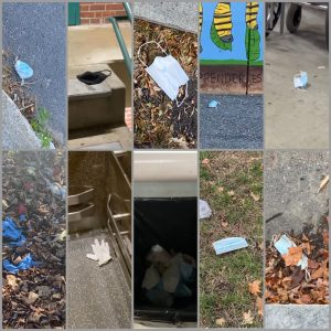 A photo collage of personal protective equipment litter.