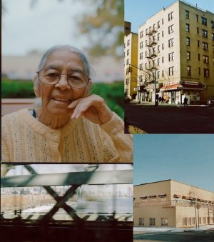 Photo collage, buildings and portrait of grandmother